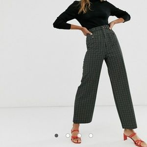 & Other stories wide leg trousers in green check